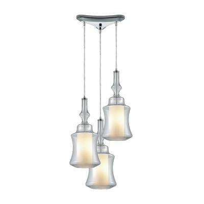 Alora 3-Light Triangle Pan in Polished Chrome with Opal White Glass Inside Clear Glass Pendant