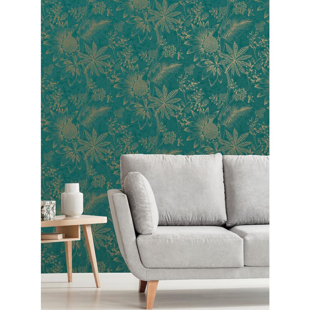 Kenitra Teal Botanical Wallpaper