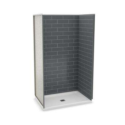 Utile Metro 32 in. x 48 in. x 83.5 in. Alcove Shower Stall in Thunder Grey with Center Drain Base in White