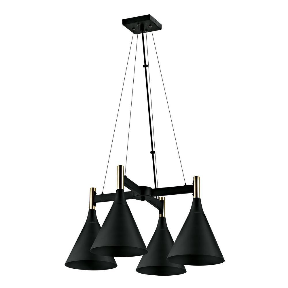 4-Light Dark Bronze and Antique Brass Accents Chandelier Pendant