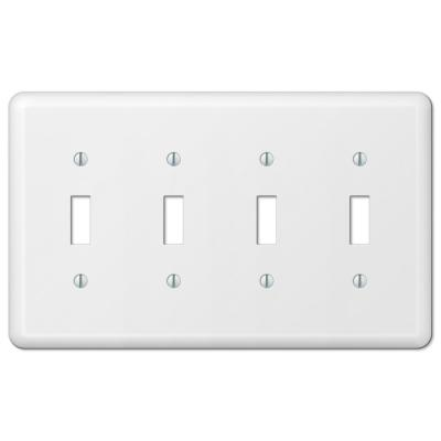 Declan 4 Gang Toggle Steel Wall Plate - White