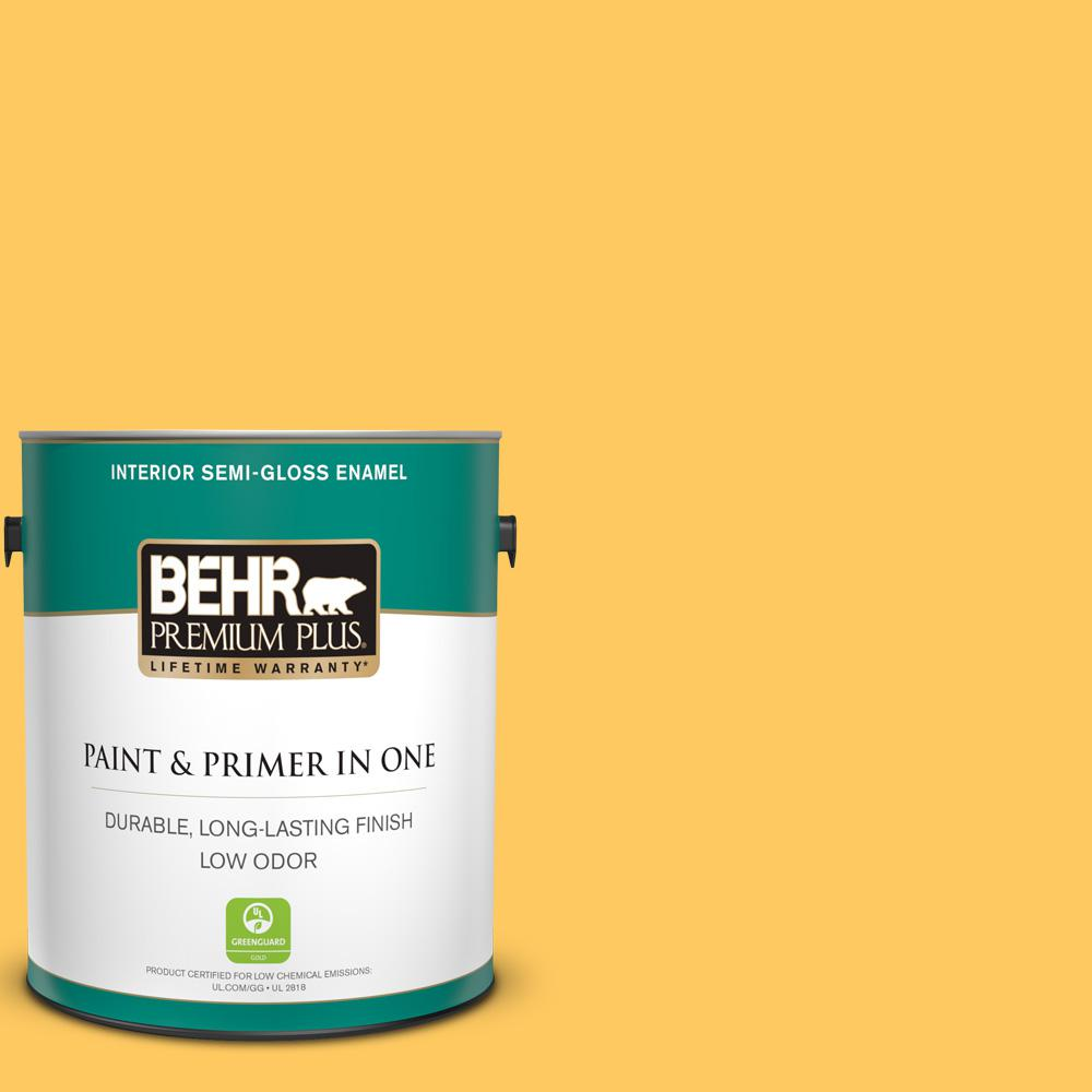 BEHR Premium Plus 1 gal. #P260-6 Smiley Face Semi-Gloss Enamel Low Odor Interior Paint and Primer in One For a paint that's tough enough to tackle any room in your home without sacrificing beauty, choose BEHR PREMIUM PLUS Low Odor, Paint & Primer in One Semi-Gloss Enamel Interior paint. This sleek sheen resists mildew and wear, so it's great for bathrooms and kitchens. The radiant appearance makes it great for adding color to cabinets, trim and indoor furniture. Color: Smiley Face.