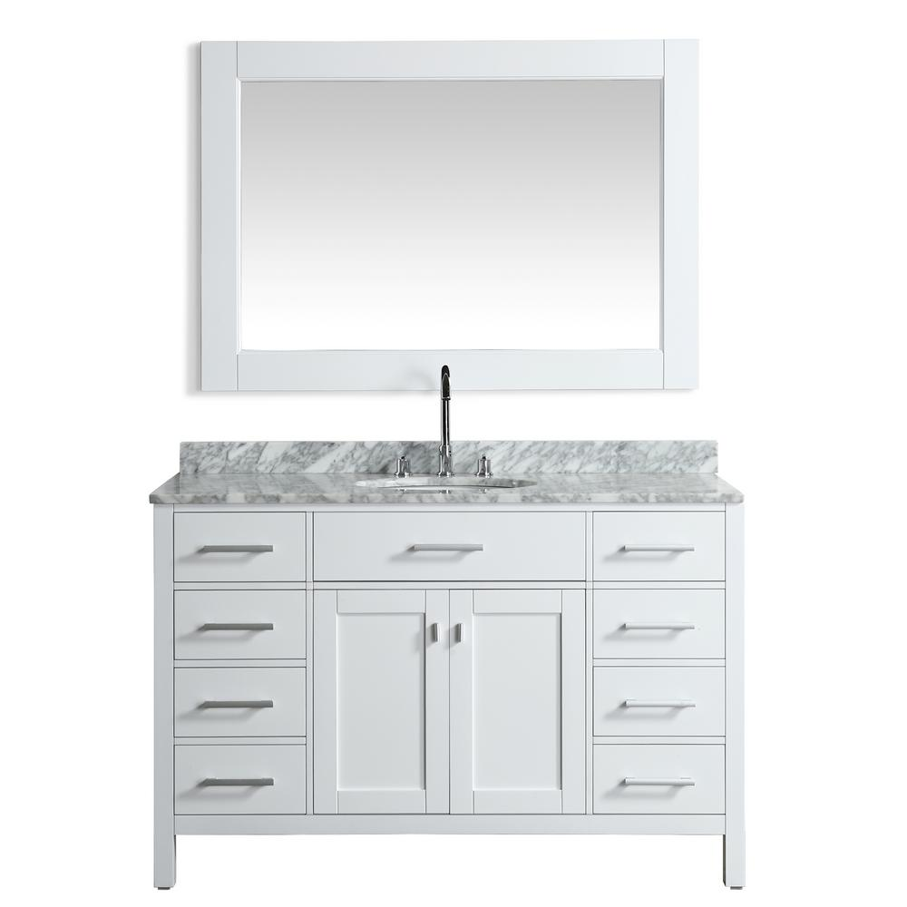 Design Element London 54 in. W x 22 in. D Vanity in White with Marble Vanity Top in Carrara White with White Basin and Mirror