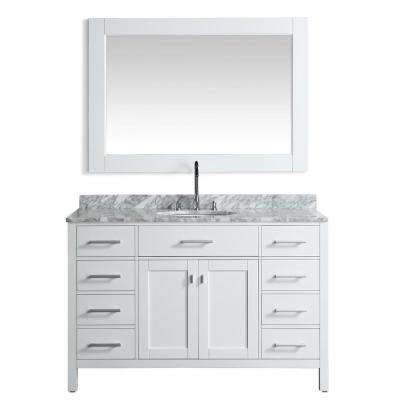 London 54 in. W x 22 in. D Vanity in White with Marble Vanity Top in Carrara White with White Basin and Mirror