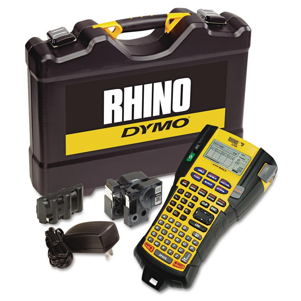 Rhino 5200 Industrial Label Maker Kit, 5-Lines, 4-9/10 in. W x 9-1/5 in. D x 2-1/2 in. H