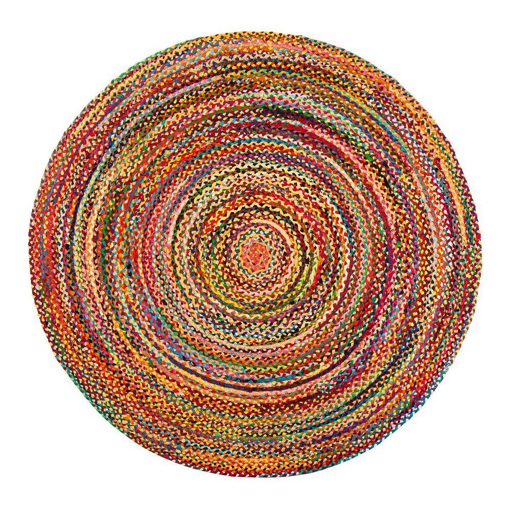 Sayulita Multicolored 4 ft. Round Area Rug