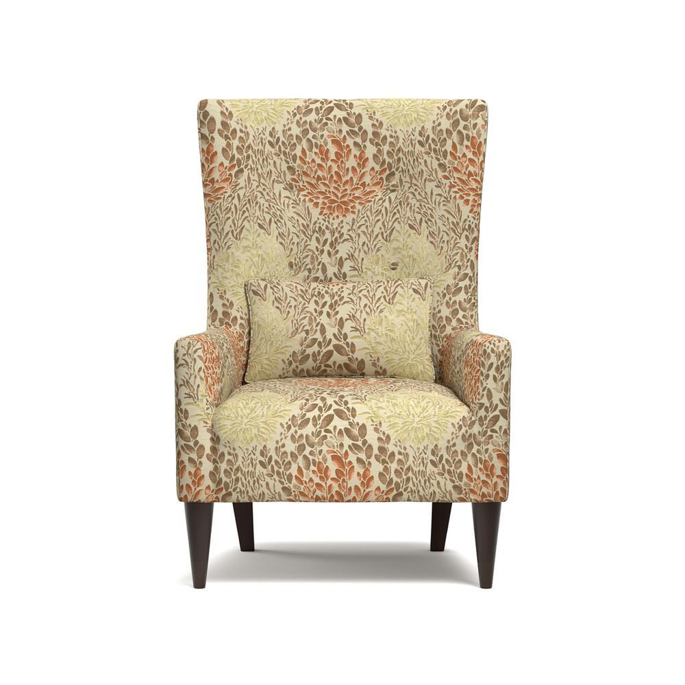 Venecia Orange Multi Floral Shelter High Back Wing Chair