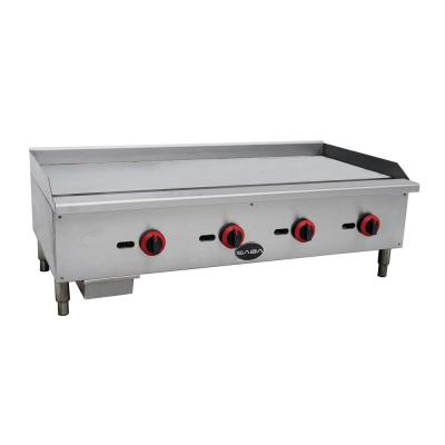 48 in. Commercial Griddle Gas Cooktop in Stainless Steel with 4 Burners