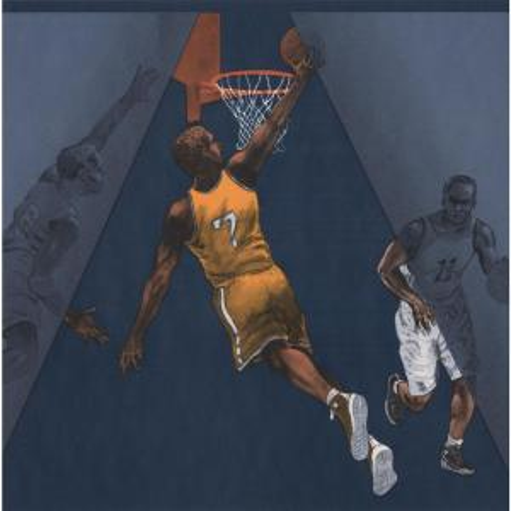 York Wallcoverings Basketball Players Black Brown Sports