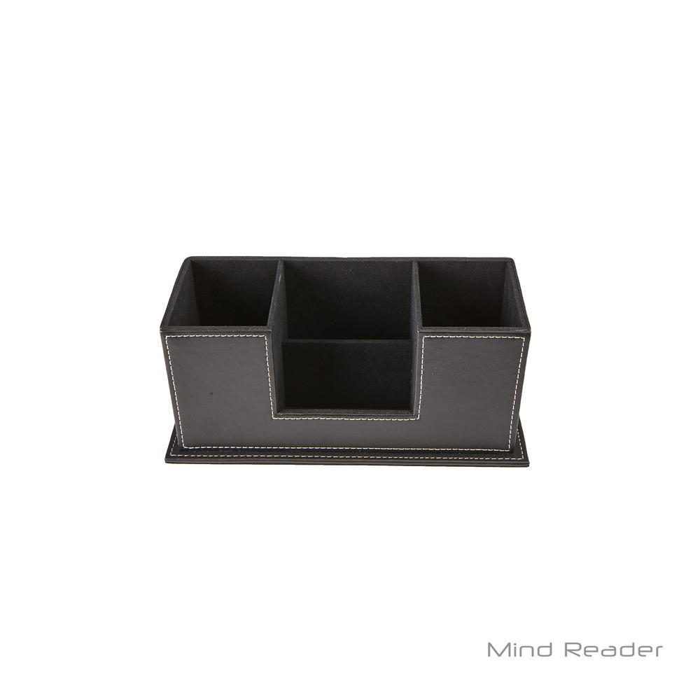 Mind Reader Faux Leather 4 Compartment Desk Supplies Organizer Black