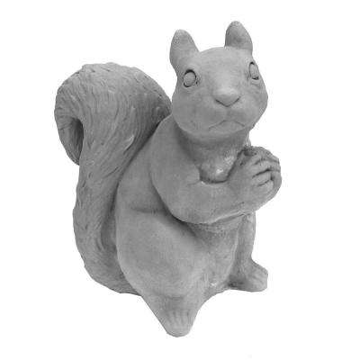 Cast Stone Sitting Squirrel Garden Statue Antique Gray