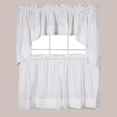 Holden 24 in. L Polyester Tier Curtain in White (2-Pack)