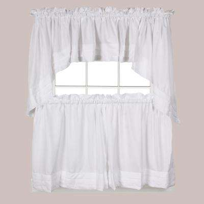 Semi-Opaque Holden 24 in. L Polyester Tier Curtain in White (2-Pack)