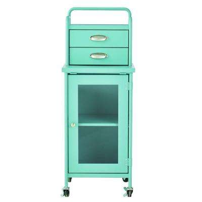 Steel 2-Drawer Cart in Matte Blue