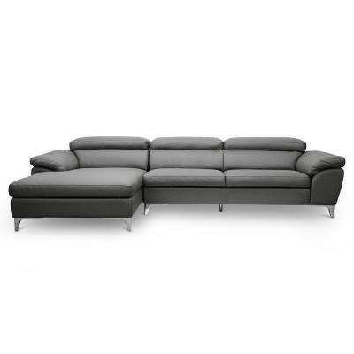 Voight 2-Piece Contemporary Gray Faux Leather Upholstered Left Facing Chase Sectional Sofa