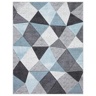 Dilaria Blue/Multi-Color 5 ft. x 7 ft. Geometric Hand Carved Area Rug