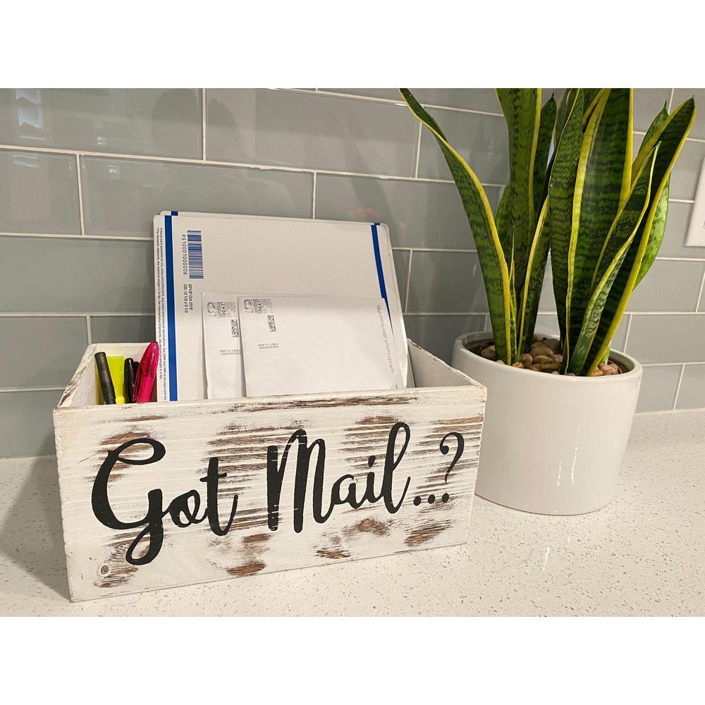 Got Mail Decor Box, Wooden Mail Box, Farmhouse Rustic Wood Crate Home Decor, White ABN5E155-WHT