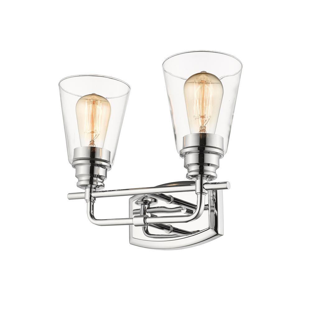 Filament Design Aurora 2-Light Chrome Bath Light with Clear Glass Shade