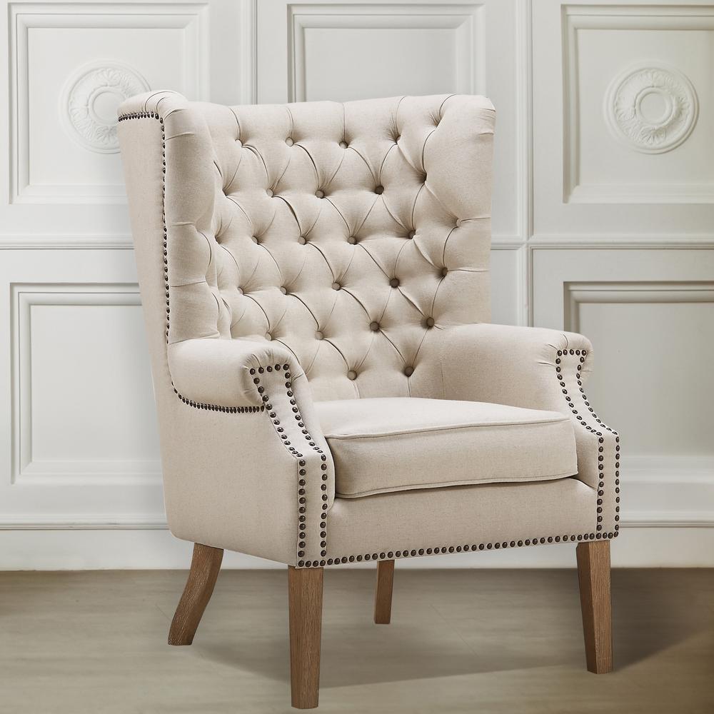 Abe Beige Linen Wing Chair, Beige/Linen