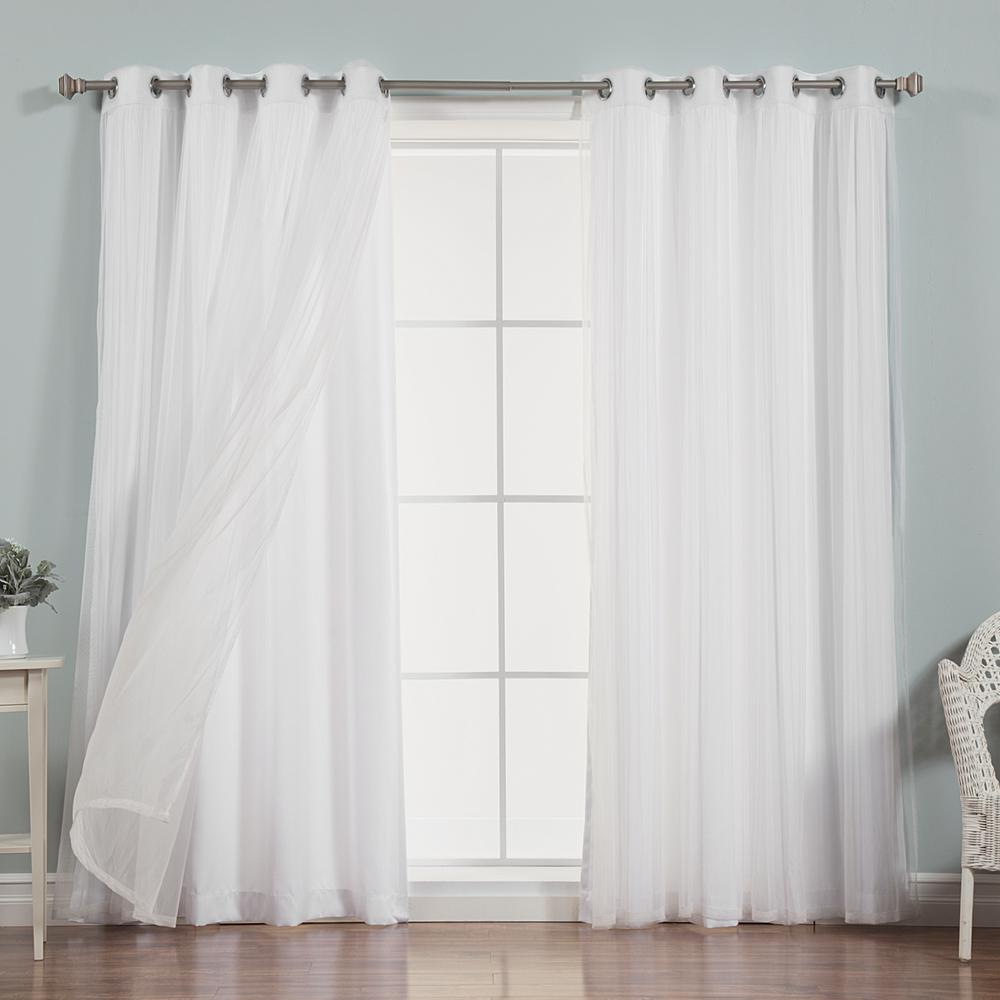 Best Home Fashion 96 in. L x 52 in. W uMIXm Sheer Tulle Nordic Curtain Panels in White (4-Pack)