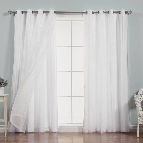 84 in. L x 52 in. W uMIXm Sheer Tulle Nordic Curtain Panels in White (4-Pack)