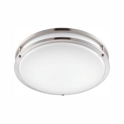 12 in. Brushed Nickel/White LED Ceiling Low-Profile Flush Mount