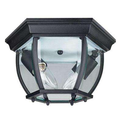 2-Light Black Outdoor Flush Mount