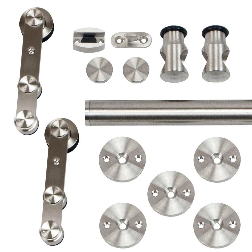 96 in. Stainless Steel Strap Rolling Door Hardware Kit for Wood or Glass Door