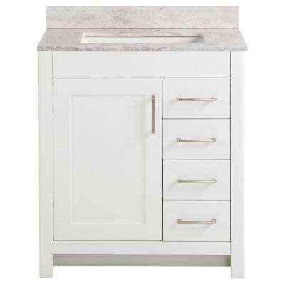 Westcourt 31 in. W x 22 in. D Bath Vanity in White with Stone Effect Vanity Top in Winter Mist with White Sink