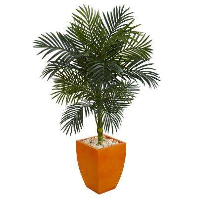 4.5 ft. High Indoor Golden Cane Palm Artificial Tree in Orange Planter