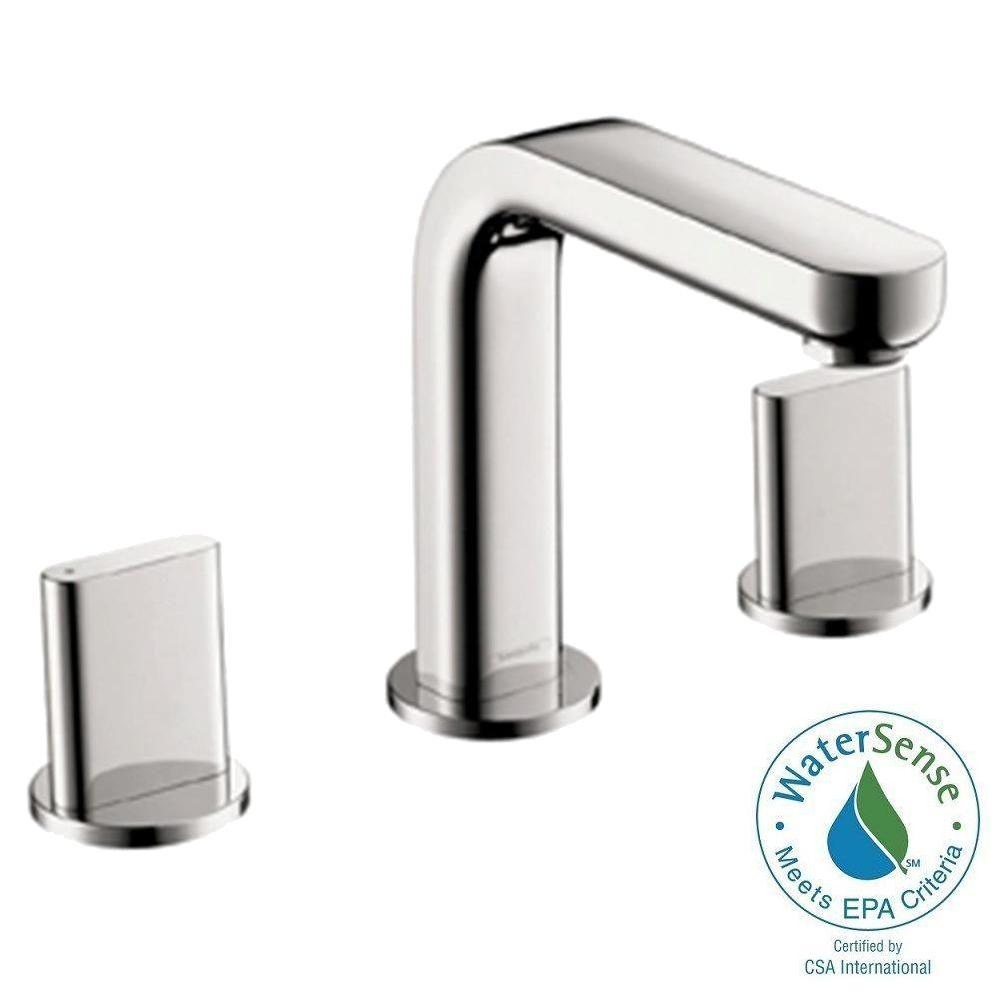 Hansgrohe Metris S 8 in. Widespread 2-Handle Mid-Arc Bathroom Faucet ...