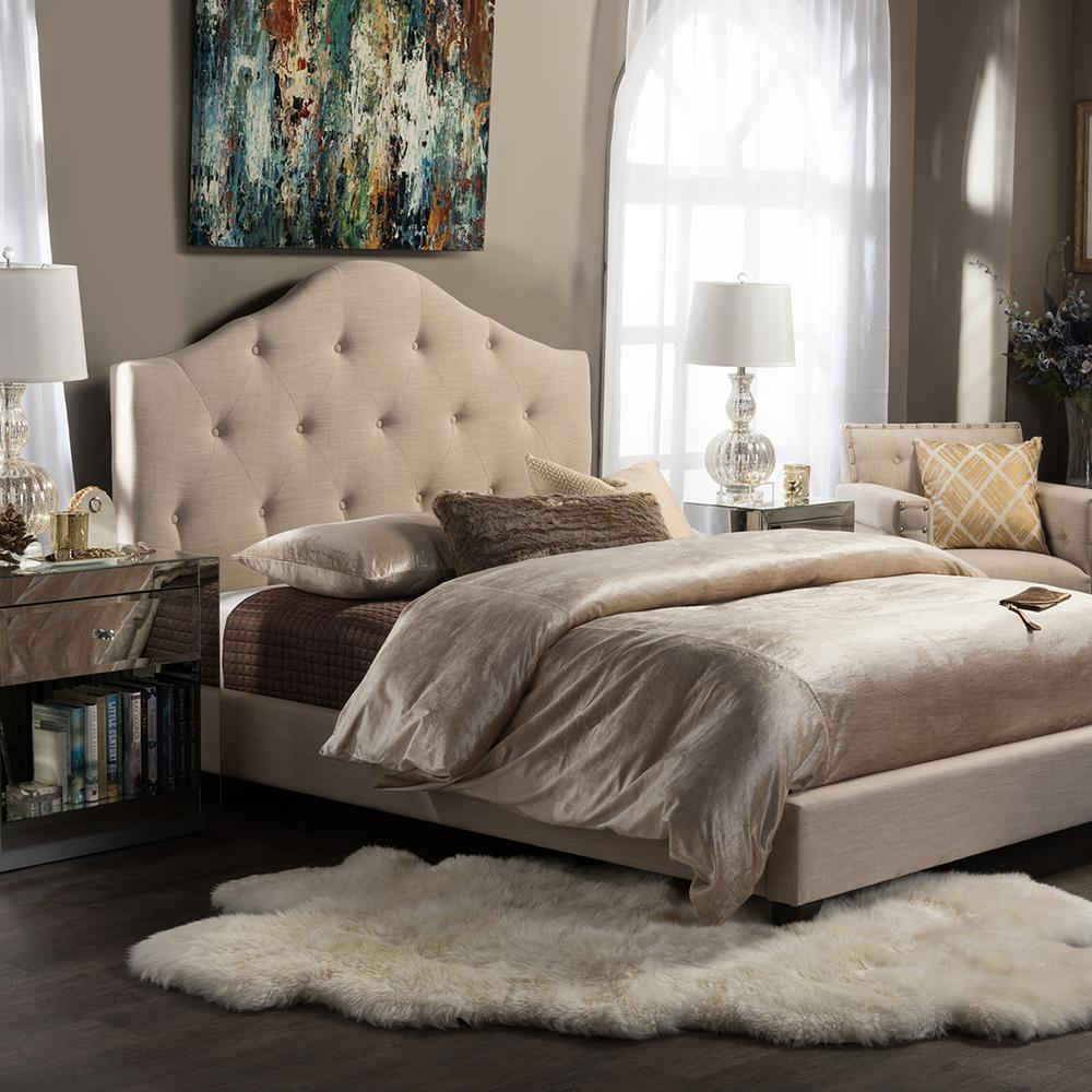 Anica Beige King Upholstered Bed