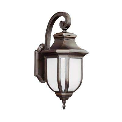 Childress 1-Light Antique Bronze Outdoor 21.25 in. Wall Lantern Sconce with LED Bulb
