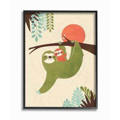 """16 in. x 20 in. """"Sloth Family Minimal Illustration Green Blue Brown and Red"""" by Jay Fleck Framed Wall Art"""