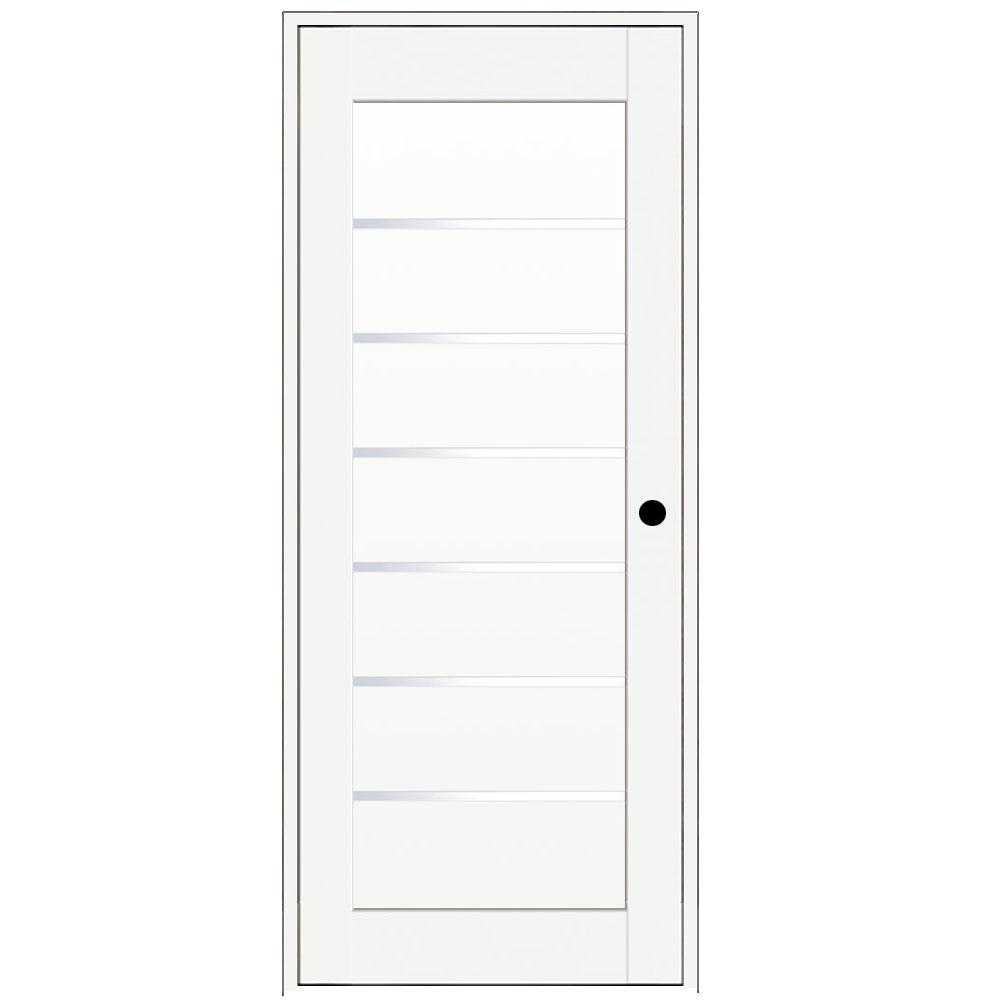 Vint Nyc 30 In X 80 In Iceberg White Right Hand Solid Core Composite 6 Lite Satin Glass Single