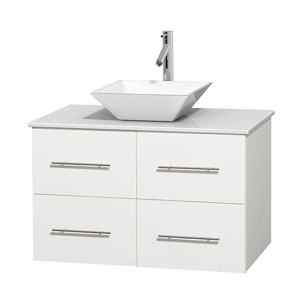 Wyndham Collection Centra 36 in. Vanity in White with Solid-Surface Vanity Top in White and Porcelain Sink