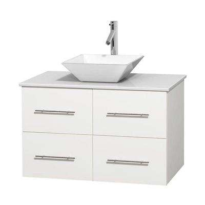 Centra 36 in. Vanity in White with Solid-Surface Vanity Top in White and Porcelain Sink