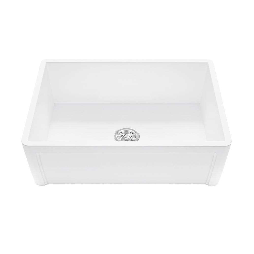 Casement Front Farmhouse Matte Stone 33 in. Single Bowl Kitchen Sink