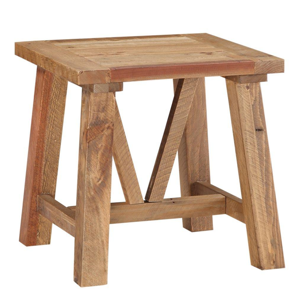22 in. H Brown Pine with Trestle Reinforced Sawhorse Base Wood End Table