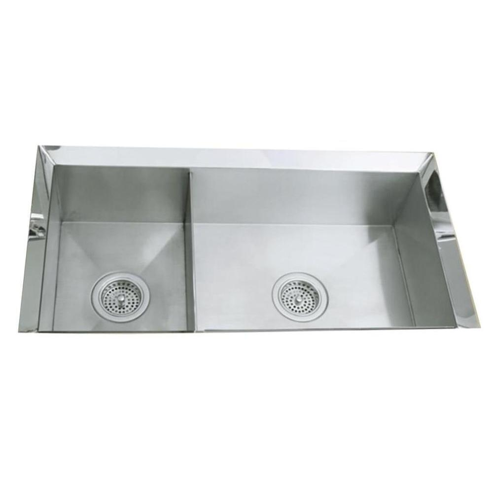 Poise Undermount Stainless Steel 33 in. Double Bowl Kitchen Sink