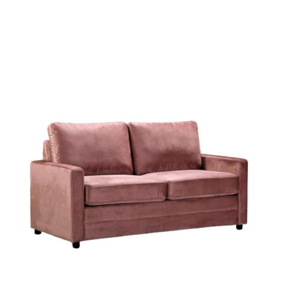 Rivian 61.5 in. Rose Velvet 2-Seater Twin Sleeper Sofa Bed with Removable Cushions