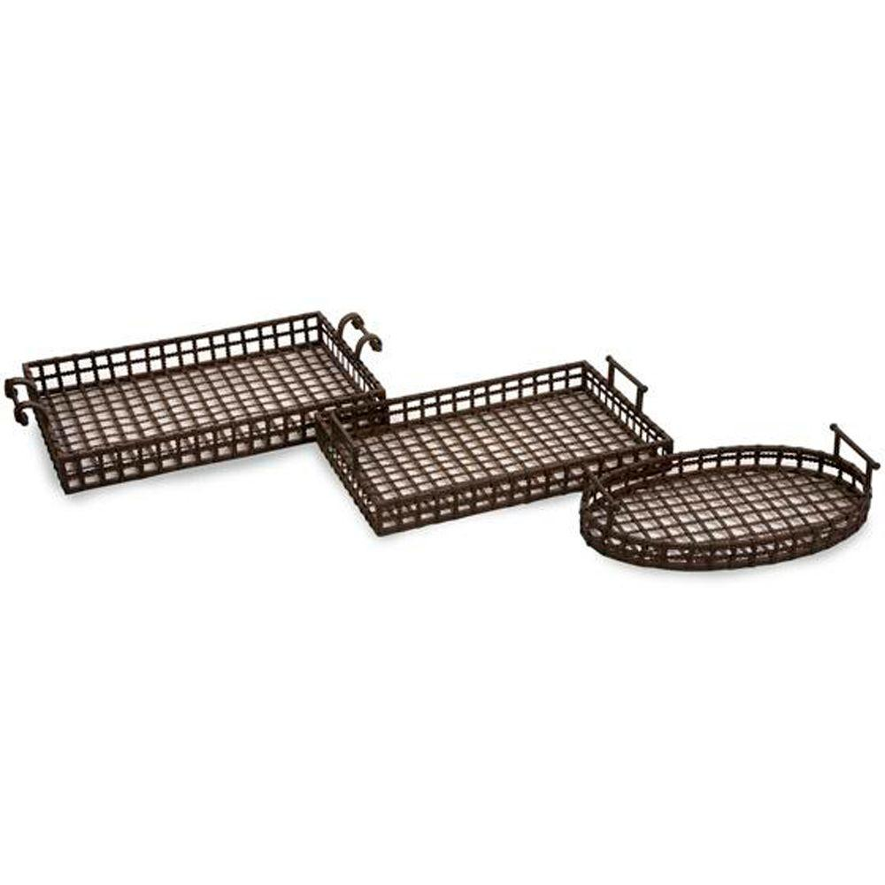 Home Decorators Collection Urban Brown Iron Trays (Set of 3)