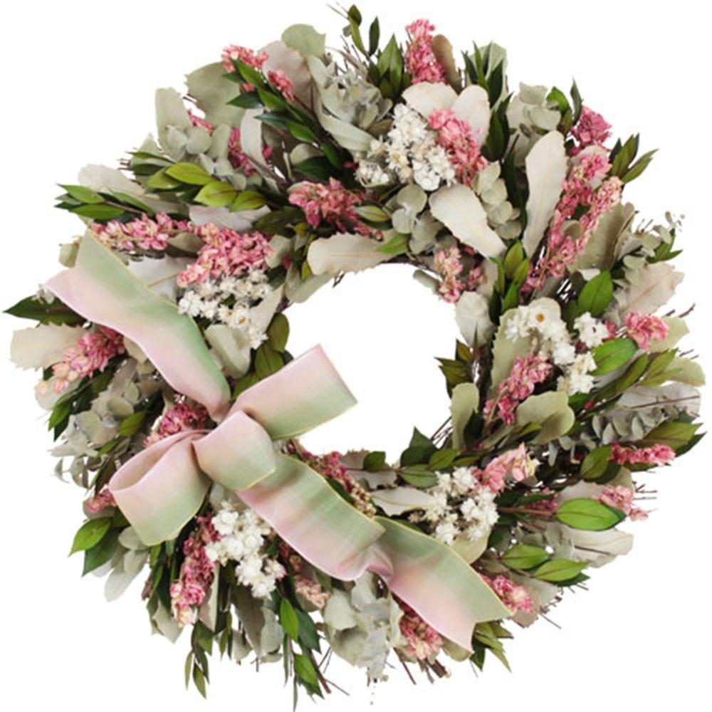 The Christmas Tree Company Blush and Blossoms 16 in. Dried Floral Wreath