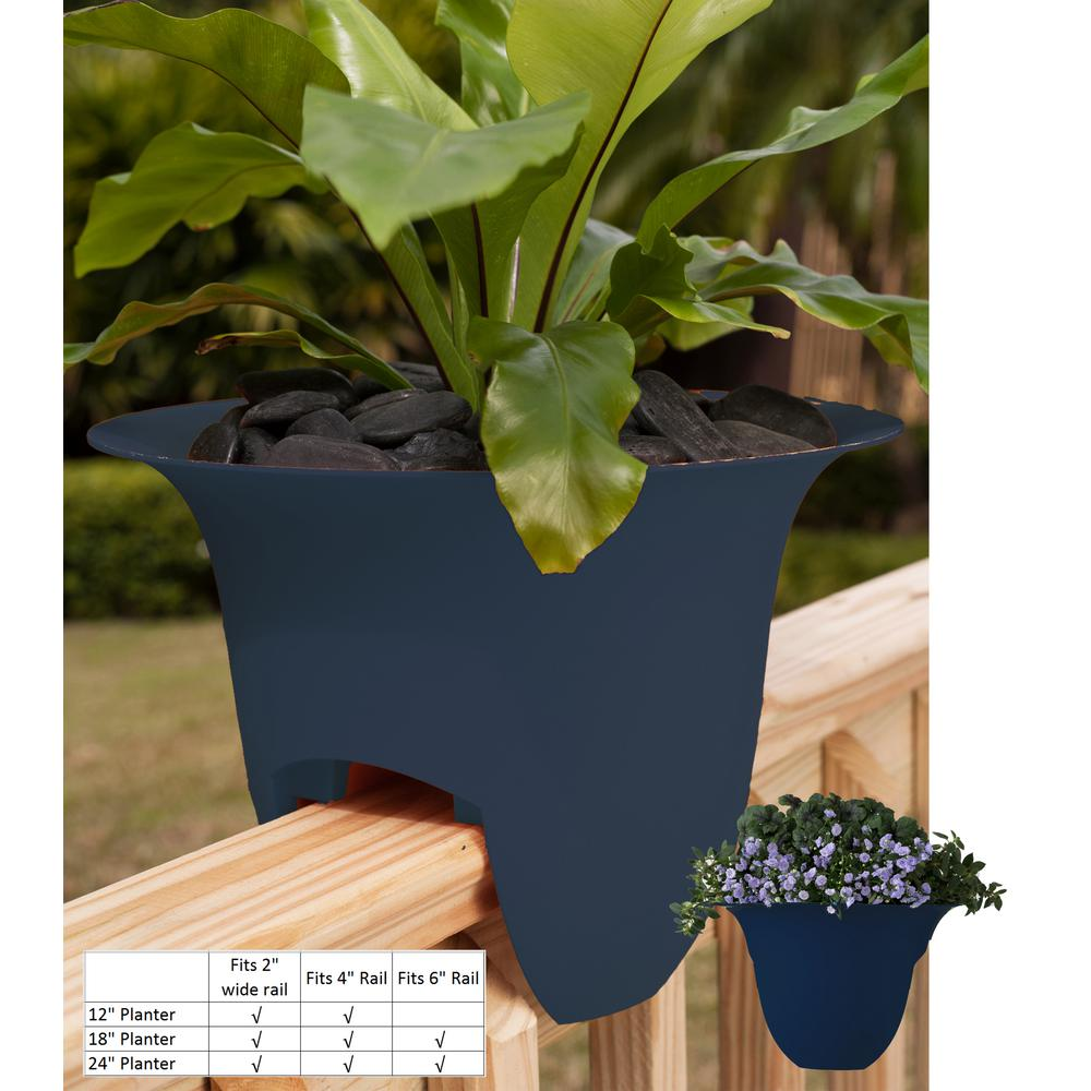 18 x 11 Deep Sea Modica Plastic Deck Rail Planter