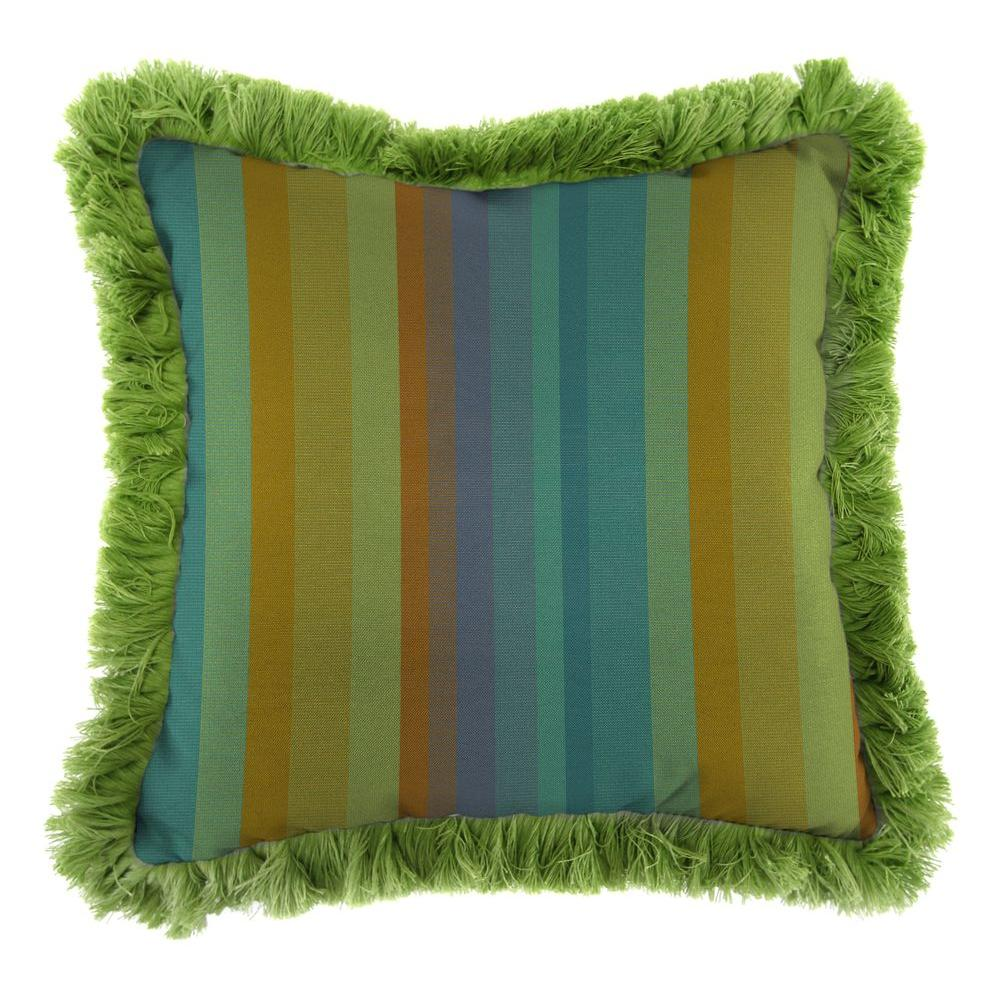 Jordan Manufacturing Sunbrella Astoria Lagoon Square Outdoor Throw Pillow with Gingko Fringe