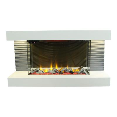 Contemporary 44 in. Freestanding Infrared Electric Fireplace in Off White with 3D Flame Effect and Remote