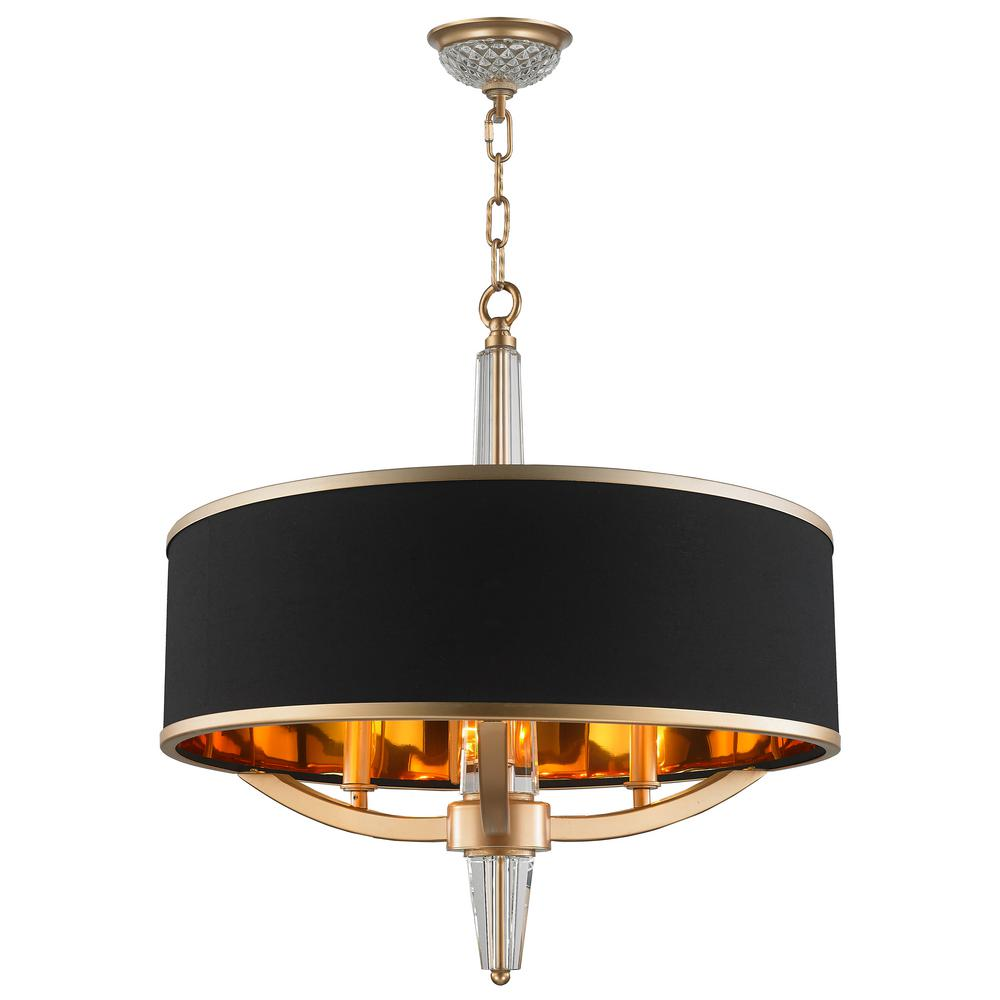 Worldwide Lighting Gatsby 3 Light Matte Gold Chandelier With Black Drum Shade