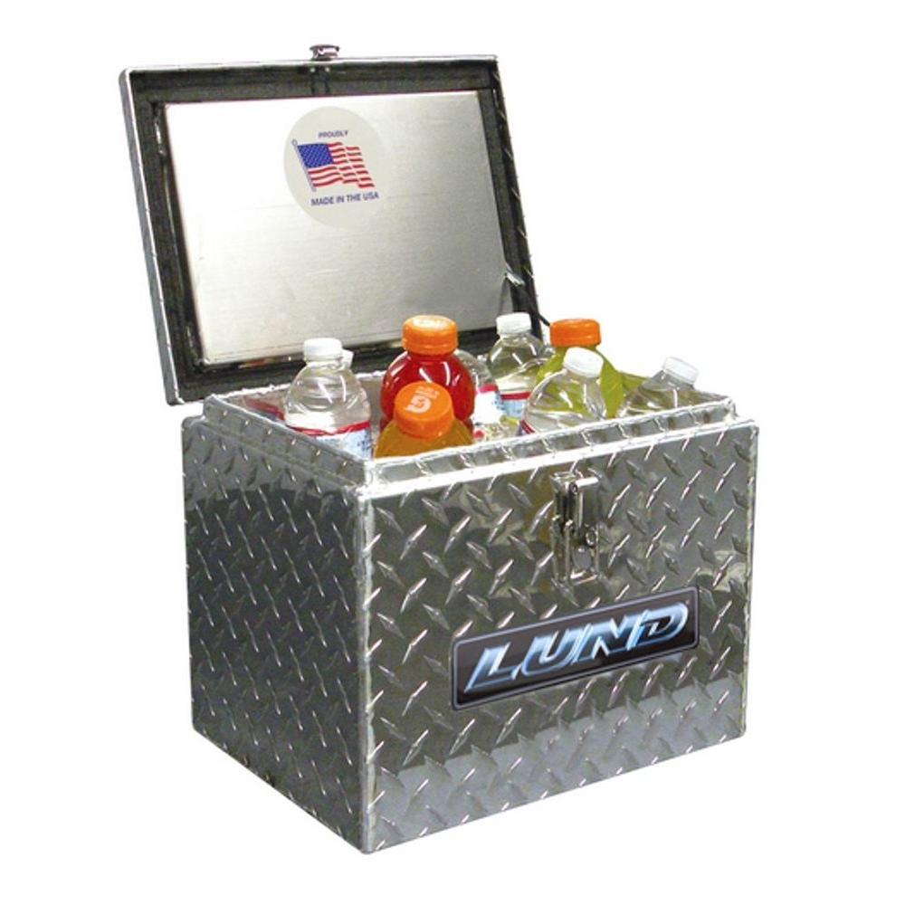 Lund 14 in Diamond Plate Aluminum Full Size Chest Truck Tool Box with lockable latch, Silver
