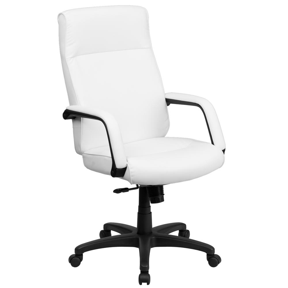 Perfect Flash Furniture High Back White Leather Executive Swivel Office Chair With  Memory Foam Padding