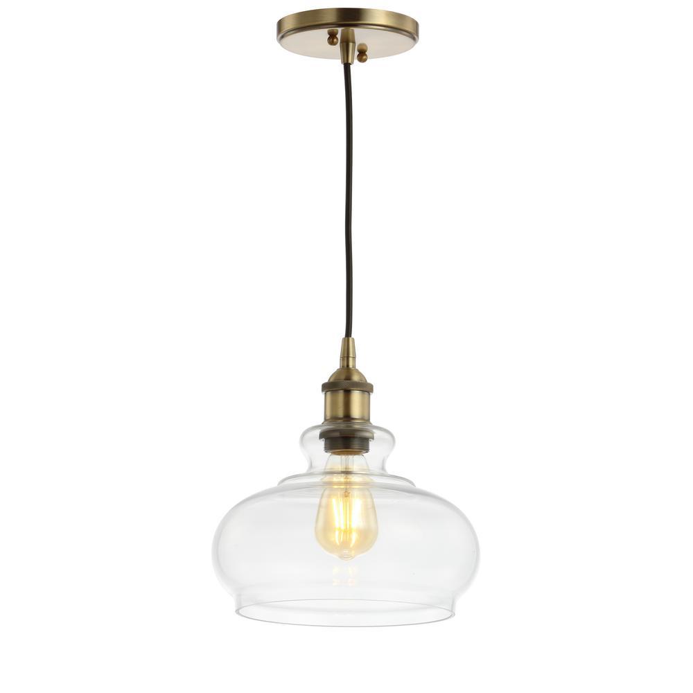 JONATHAN Y Wyatt 9.5 in. 1-Light Brass Gold Adjustable Drop Pharmacy Metal/Glass LED Pendant